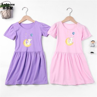 Lovely family baby dress Sweet Little Elephant Print Dress girls summer dress kids running sports Dresses