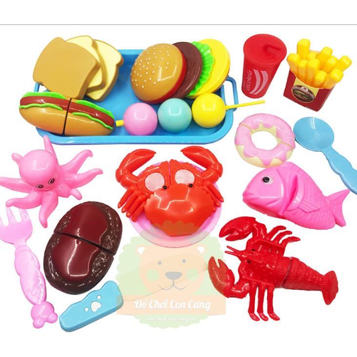 Bộ đồ chơi cắt ghép hoa quả, thức ăn nhanh cho bé 17 món