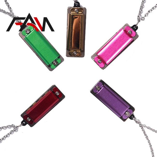 Mini 4 Holes 8 Tone Harmonica Necklace Musical Pendant Necklace Fashion Jewelry