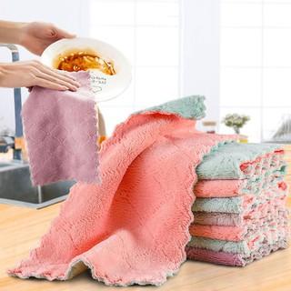 Khăn lau chén dĩa vải nhung san hô chống dính dầu mỡ có thể treo tường tiện lợi