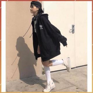 1hitshop Áo khoác dây kéo thêu trái tim chữ hàn quốc nam nữ, áo khoác nỉ bông thêu tim unisex cực cute