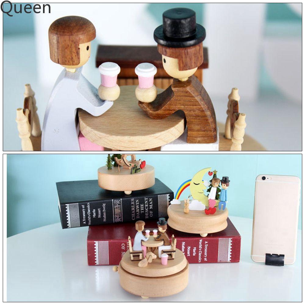 Creative Fashion Home Decoration Dating Couple Handmade Wooden Music Box Qn