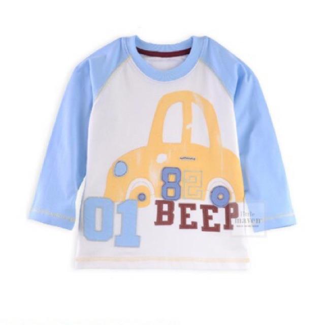 Áo dài tay Little Maven ô tô vàng Beep (6T)
