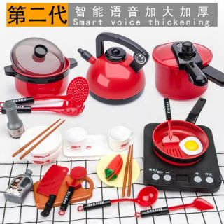 Trẻ em chơi nhà mô phỏng nhà bếp đồ chơi bé mini nấu ăn cậu bé nấu ăn nấu ăn bộ đồ dùng nhà bếp