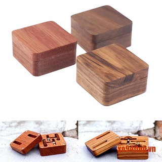 【XoTop】1Pc Wooden Boutique Cufflinks Boxs Men's Single Magnetic Suction Cover