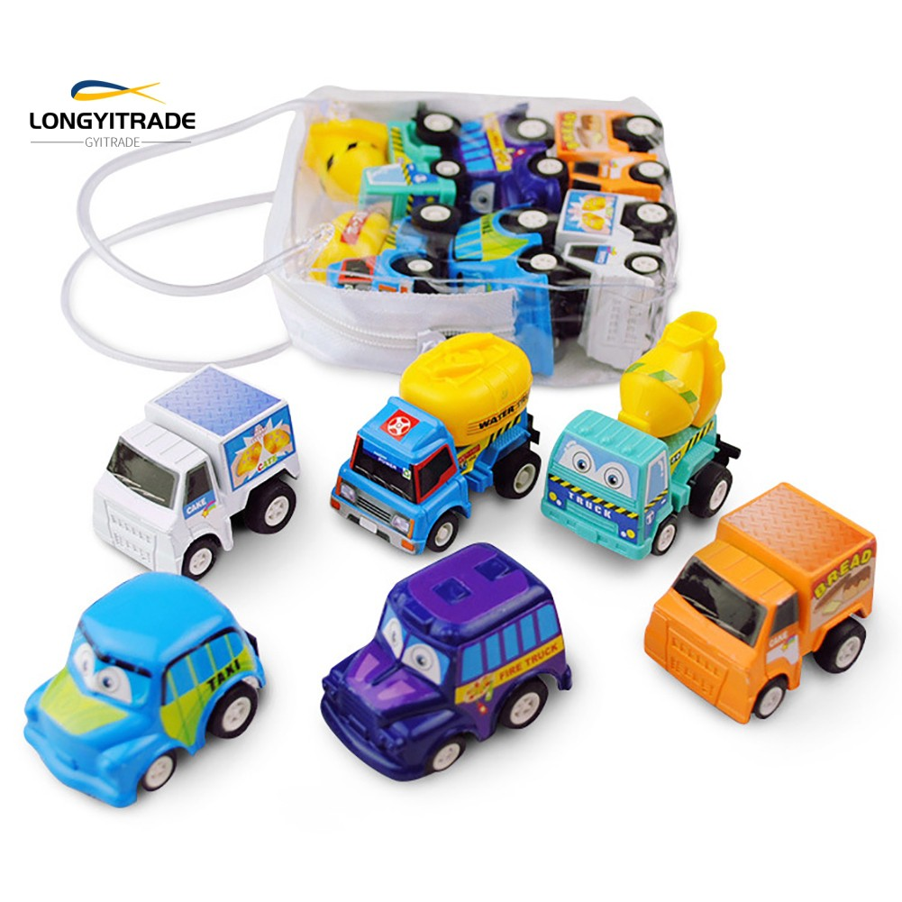 6Pcs  Pull Back Diecast Car Truck Model  Toddlers Toy  Favors