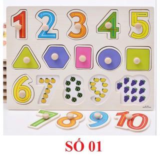 [Ana Kids] Đồ chơi bảng ghép gỗ núm cầm chủ đề 10 số kèm hình – Bảng số 01 FRESHIP 99k