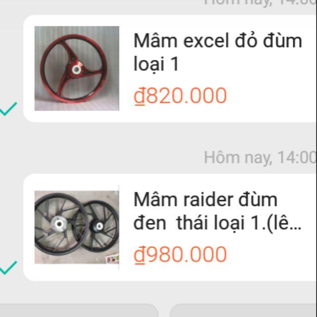 Compo 2 mâm xe.excel và raider đùm thái. - 3532178 , 1067501659 , 322_1067501659 , 1700000 , Compo-2-mam-xe.excel-va-raider-dum-thai.-322_1067501659 , shopee.vn , Compo 2 mâm xe.excel và raider đùm thái.