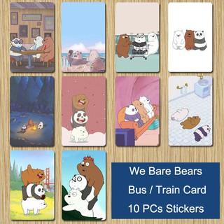 We Bare Bears Cartoon Bus Train ID IC Credit Debit Card Ice Bear Panda Stickers
