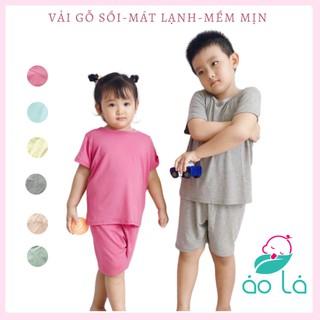 Bộ cộc tay vải Modal gỗ Sồi cho trẻ em từ 12kg-32kg 1 tuổi-8 tuổi vải mềm mát