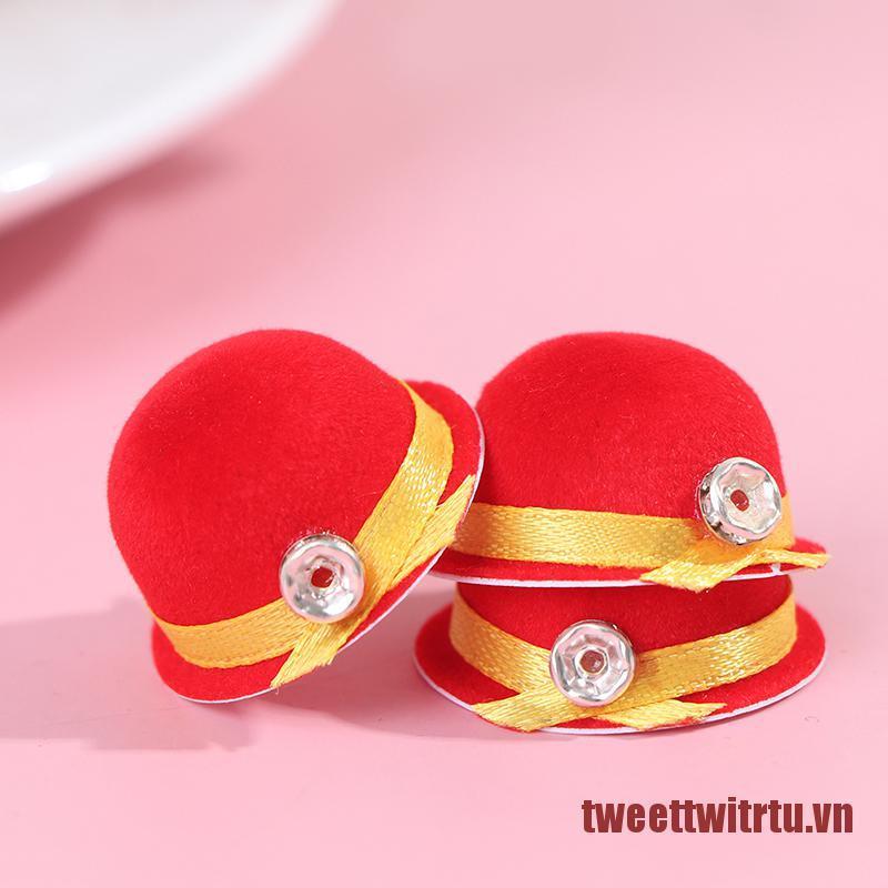 TRTU 1:12 Dollhouse Miniature Doll Hat Fashion Cap Red Bowler Hat Doll Decor Toy