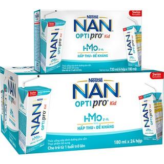 Sữa Nan Optipro Kid hộp pha sẵn tiện lợi, thùng 24 hộp 180ml/1 hộp