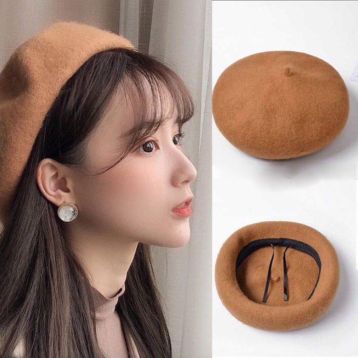 [Hoàn 2000 Xu] Mũ Nồi Beret , Mũ dạ điều chỉnh được kích thước hàng Quảng Châu siêu cao cấp
