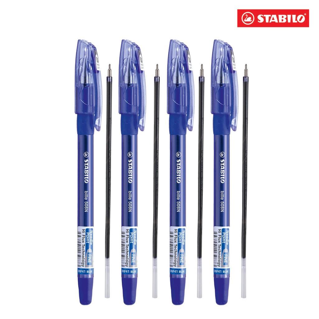 Bộ 4 bút bi STABILO Bille xanh kèm 4 ruột xanh BP508NFU-C4R
