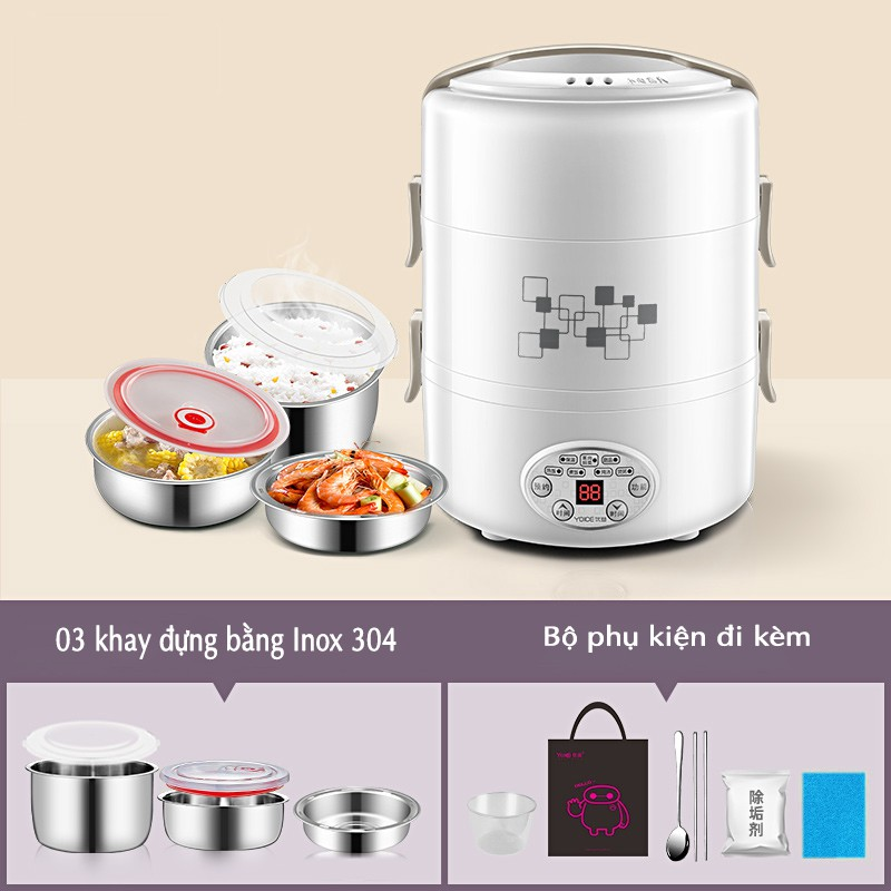 [An Toàn- Thông Minh] Hộp đựng cơm điện Youyi 3 tầng, hẹn thời gian cắm điện, Bằng inox 304 an toàn.