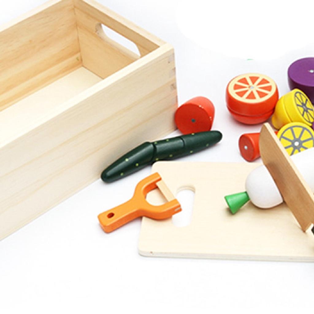 Bộ đồ chơi cắt rau củ bằng gỗ – hộp gỗ