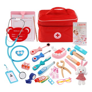Children Pretend Doctor Toy Set Durable Nurse Injection Tool Wooden Simulation Medicine Box Sturdy Gift Case,NO.3