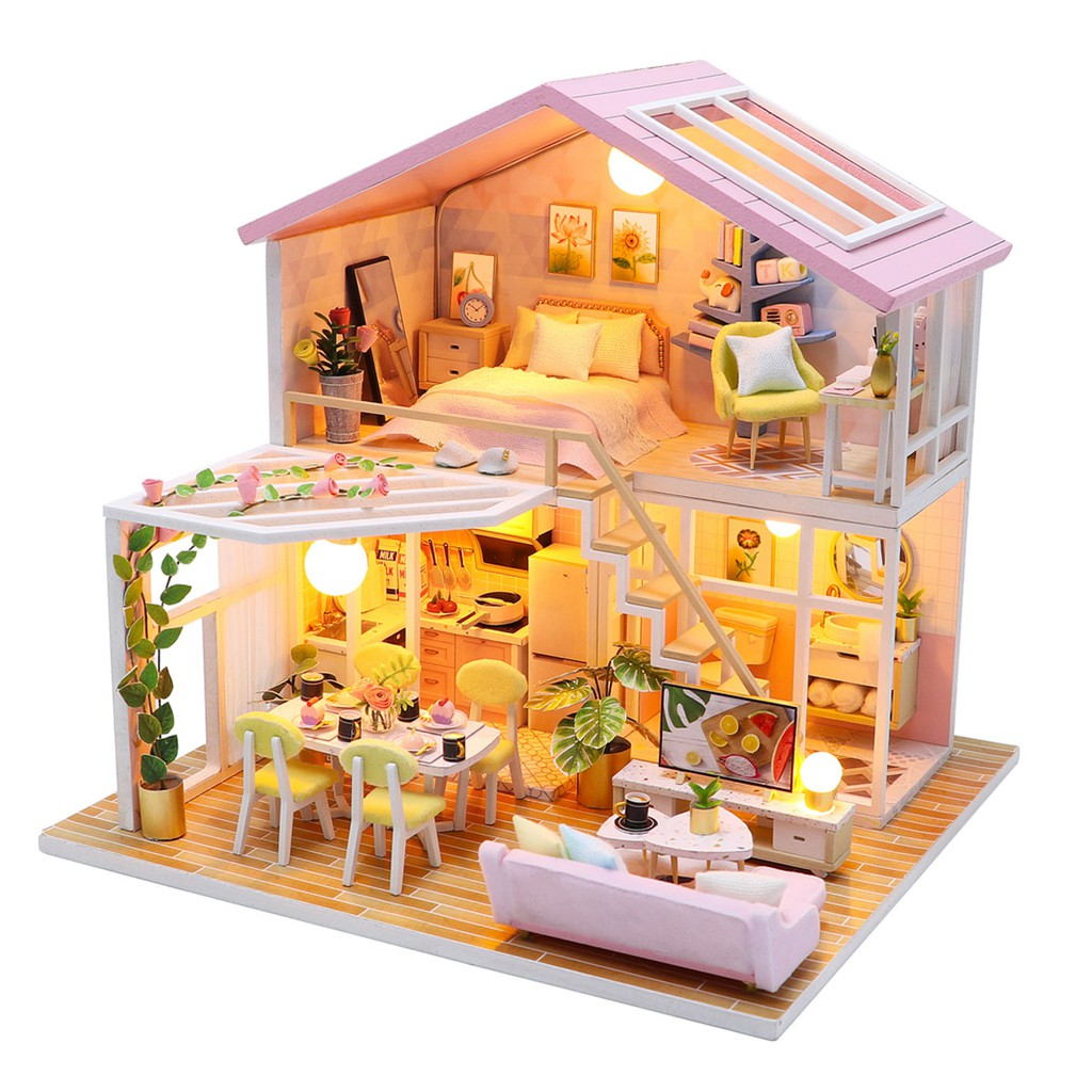 [Mã TOYJAN hoàn 20K xu đơn 50K] Mô hình nhà gỗ búp bê tự lắp ráp với nội thất mini 1 lầu có đèn cho bé mã M2001