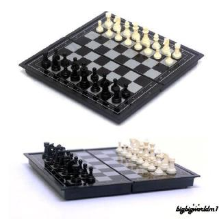 ♪~New Chess Board Magnetic Set Folding Travel Vintage Game Pieces Portable Carved Case