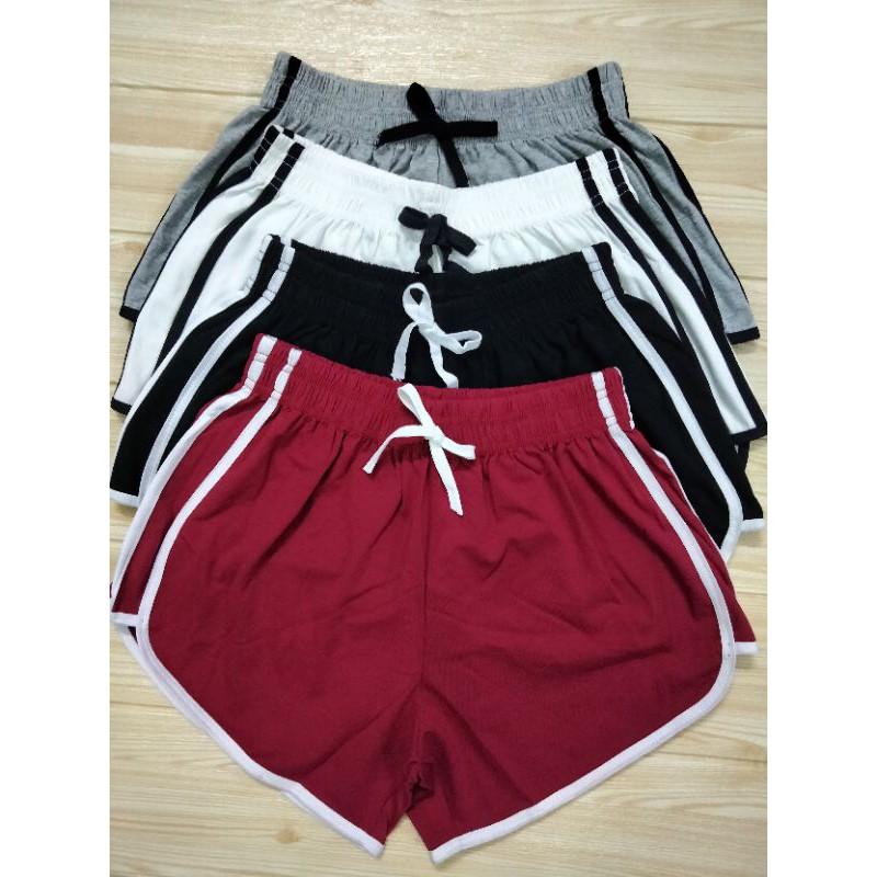 Quần đùi short nữ cotton 100% thiết kế 3 sọc viền thể thao bên hông co giãn thoải mái thich hợp mặc nhà và tập thể duc .
