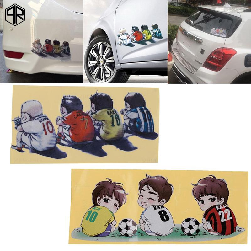 D-588 23x11CM PVC Reflective Colorful Football Baby Back Car Sticker Decal^