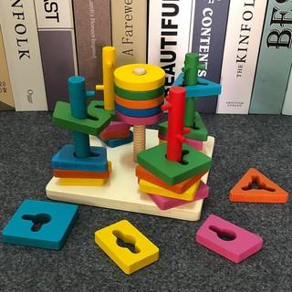 Combo 3 món: 1 Đàn gỗ Xylophone 8 thanh (Thường); 1 Tháp xếp cầu vồng; 1 Bộ thả hình 5 cột khối _Chất Lượng