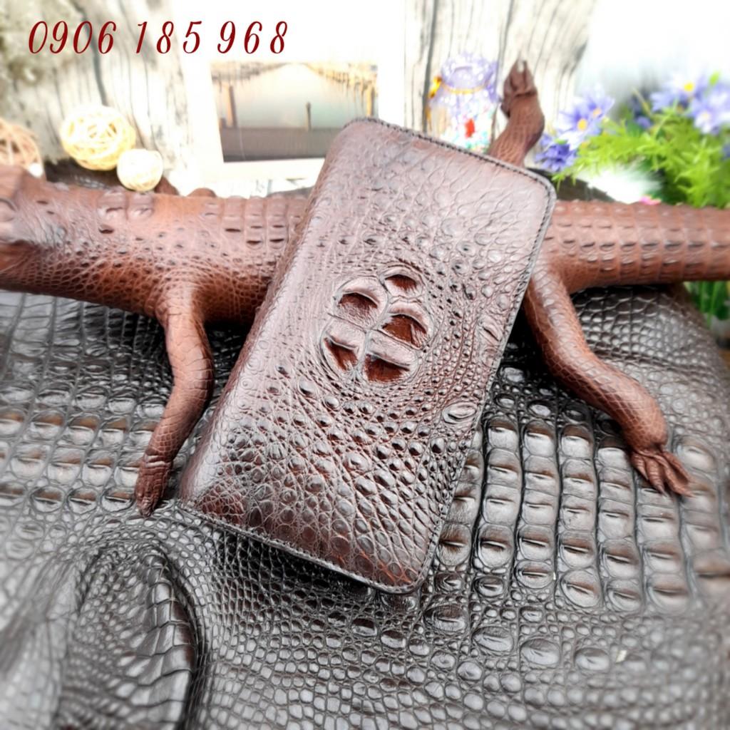 (Hàng Cao Cấp) Ví Cầm Tay 2 khóa da cá sấu BH 12 Tháng