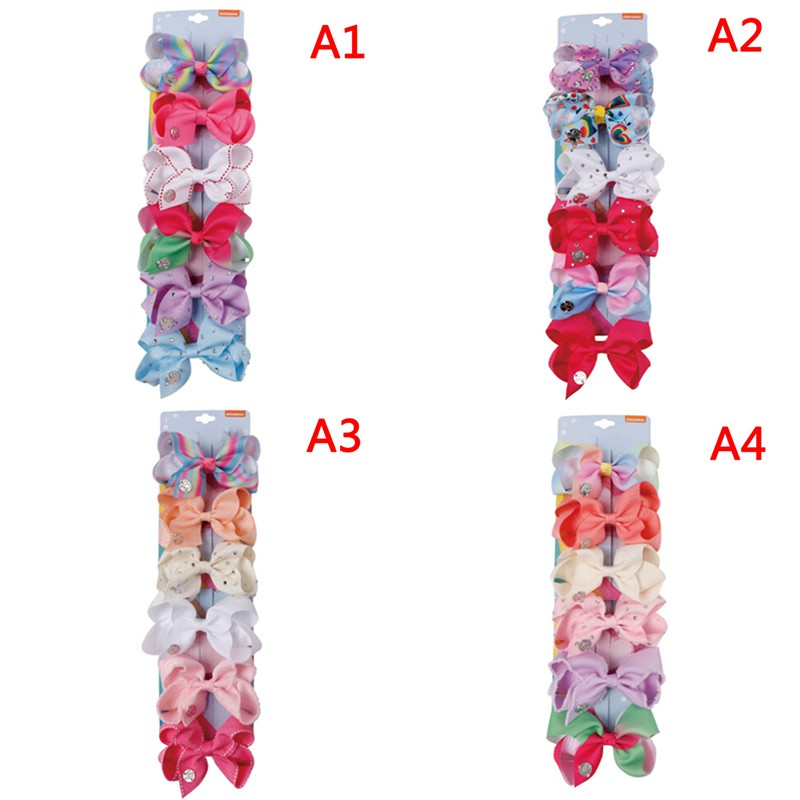 6pcs/card 4'' Hair bows for girls kids grosgrain ribbon rhinestone hair cl