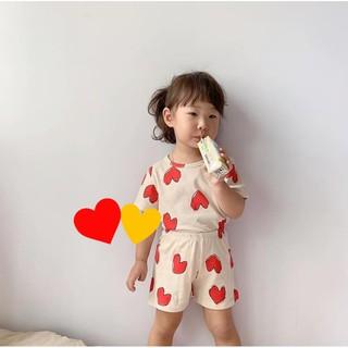 Bộ Thun Lạnh Minky Mom Trái Tim Cao Cấp 🍎 Bộ Thun Lạnh Cộc Tay Cho Bé