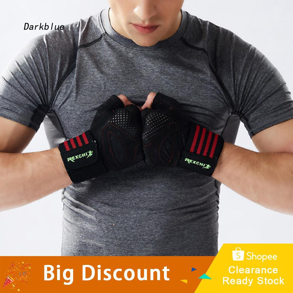 DKBL_REXCHI 1 Pair Anti-slip Half Finger Gloves Wrist Wrap for Weight Lifting Cycling