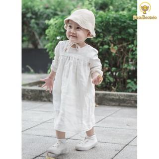 Đầm phối ren cho bé tay dài thêu tay cao cấp vải linen trắng thân thiện trẻ em (vải tốt - may kĩ)