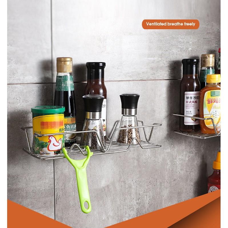 Giá treo đồ Inox 304 dán tường để dầu gội sữa tắm, kệ gia vị nhà bếp - KT30