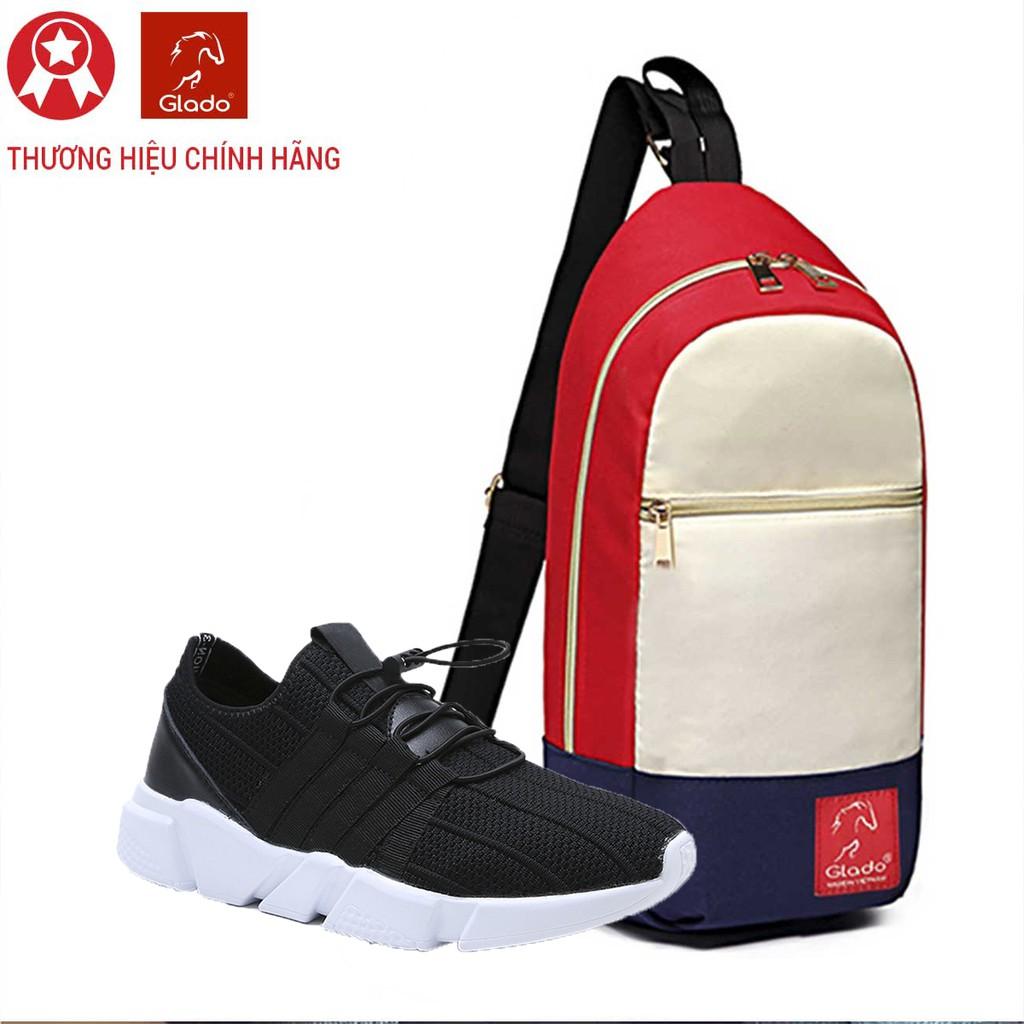 Combo Túi Messenger Thời Trang Glado DCG028 (Màu Trắng Đỏ) + Giày Sneaker GZ016 (Đen)