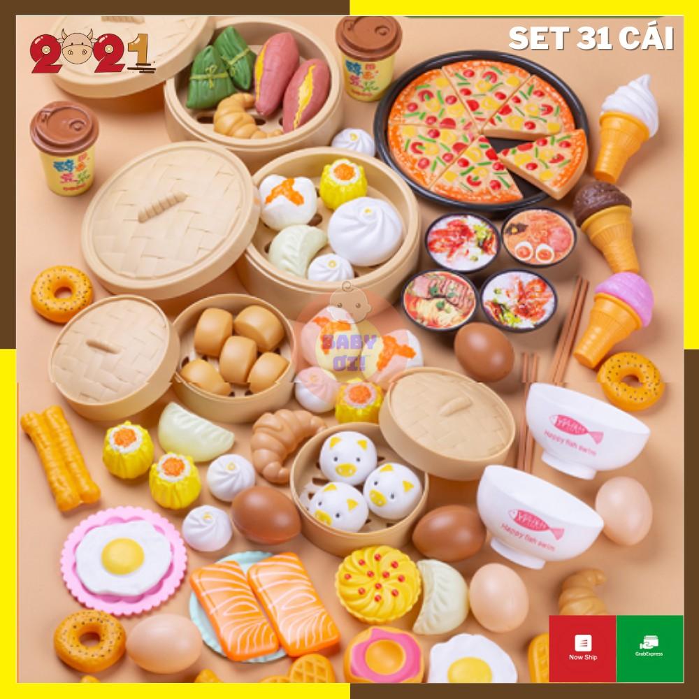 Bộ đồ chơi nấu ăn cho bé, mô hình đồ ăn, thức ăn, đồ chơi đồ hàng, set 31 chi tiết bằng nhựa ABS.