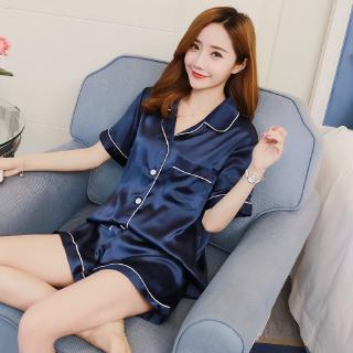 2pcs Women Sexy Silk Satin Pyjamas Set Short Sleeve Sleepwear Pajamas Suit Buja Tidur M-2XL 6 Color
