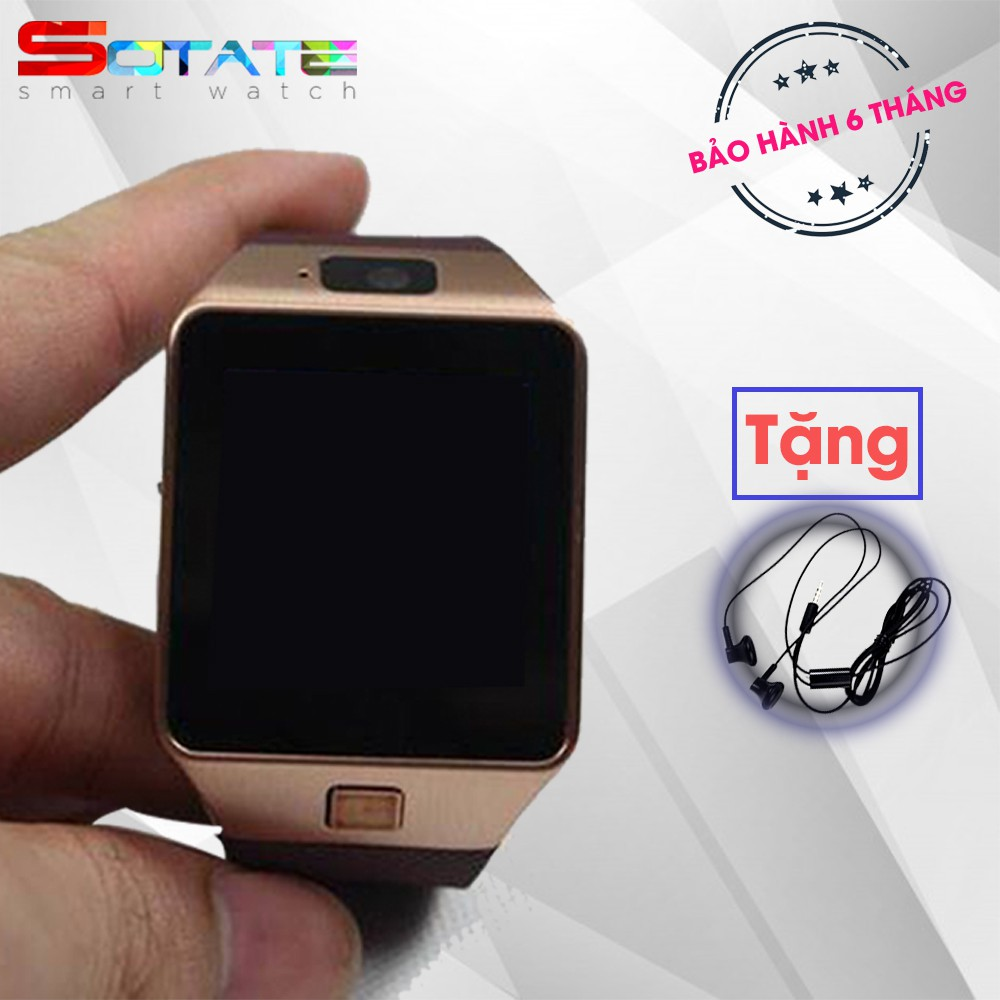 Bộ đồng hồ thông minh Smart Watch DZ09 màu Vàng Đồng tặng Tai Nghe