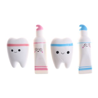 Cartoon Toothpaste and Tooth Squishy Kid Gift Stress Reliever Toy