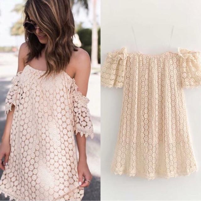 Váy xuông trễ vai ren cao cấp freepeople