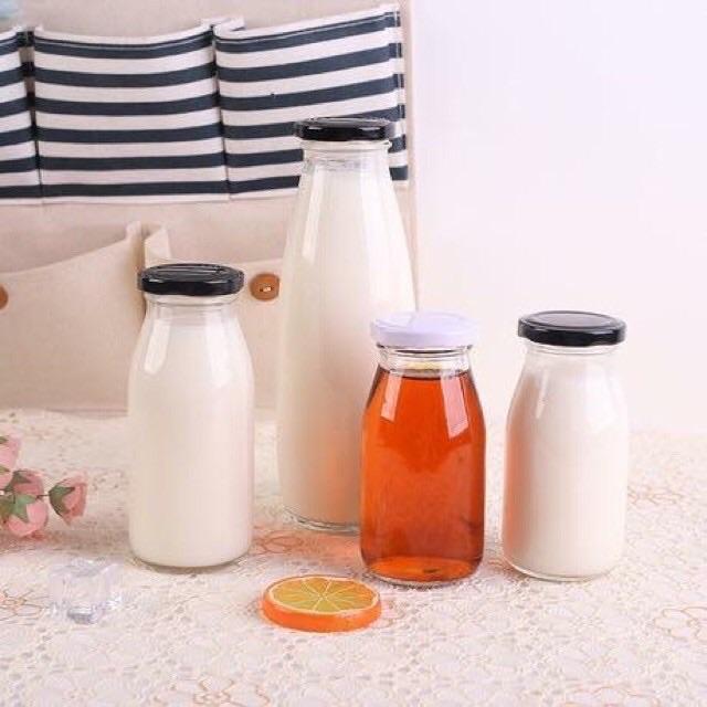 Chai lọ thuỷ tinh đựng sữa hạt, đồ uống handmade