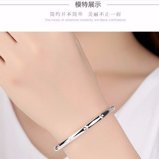 ◎Pure silver S999 bracelet solid thousand-foot girl to send gifts Long Fengfu mother grandmother push and pull simple