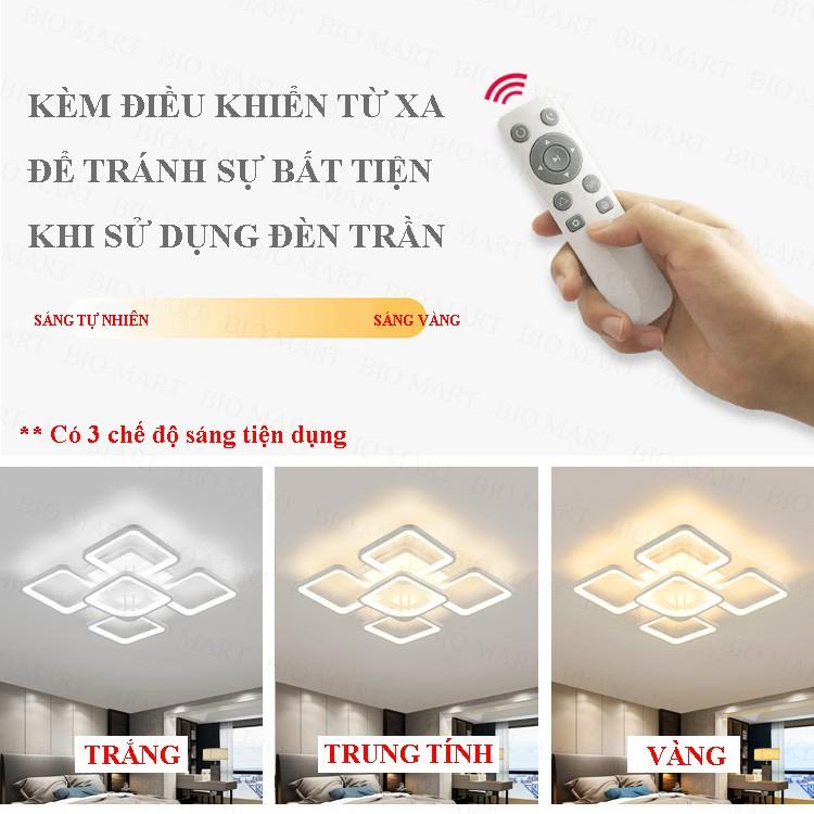 Đèn Ốp Trần Trang Trí – Đèn Âm Trần Trang Trí Phòng Khách, Gồm 3 Chế Độ Ánh Sáng, Có Điều Khiển Từ Xa Tiện Dụng – BIO140
