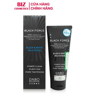 Sữa rửa mặt cao cấp dành cho nam Dabo Black Force Black & White Mild Scrub 120ml thumbnail
