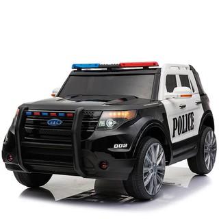 Ô tô xe điện cảnh sát YH811 kèm dàn đèn nháy đồ chơi cho bé 2 động cơ 12V7AH (Đen-Đỏ-Trắng)