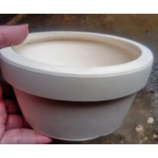 chậu trắng lùn (cao 7cm, miện 14cm) thumbnail