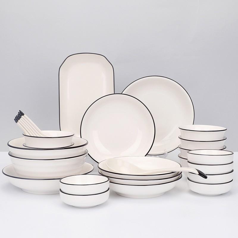 Sét bát đĩa bằng sứ cao cấp 28 chi tiết (có hộp đựng)
