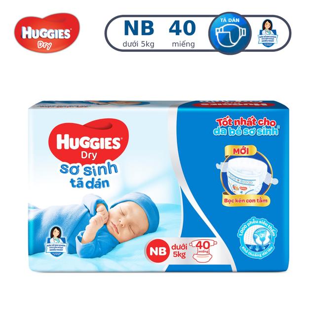 Tã dán sơ sinh Huggies NB40 (dưới 5kg) - Gói 40 miếng