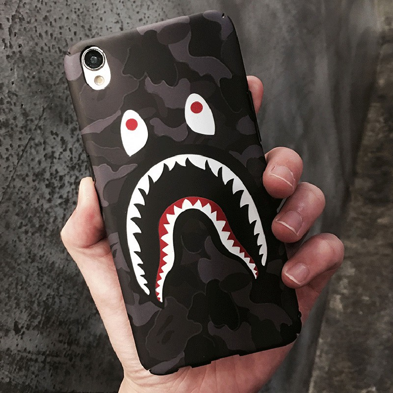 Fantastictrip Fashion Camouflage Shark Mouth Cartoon Protective Phone Case For iPhone