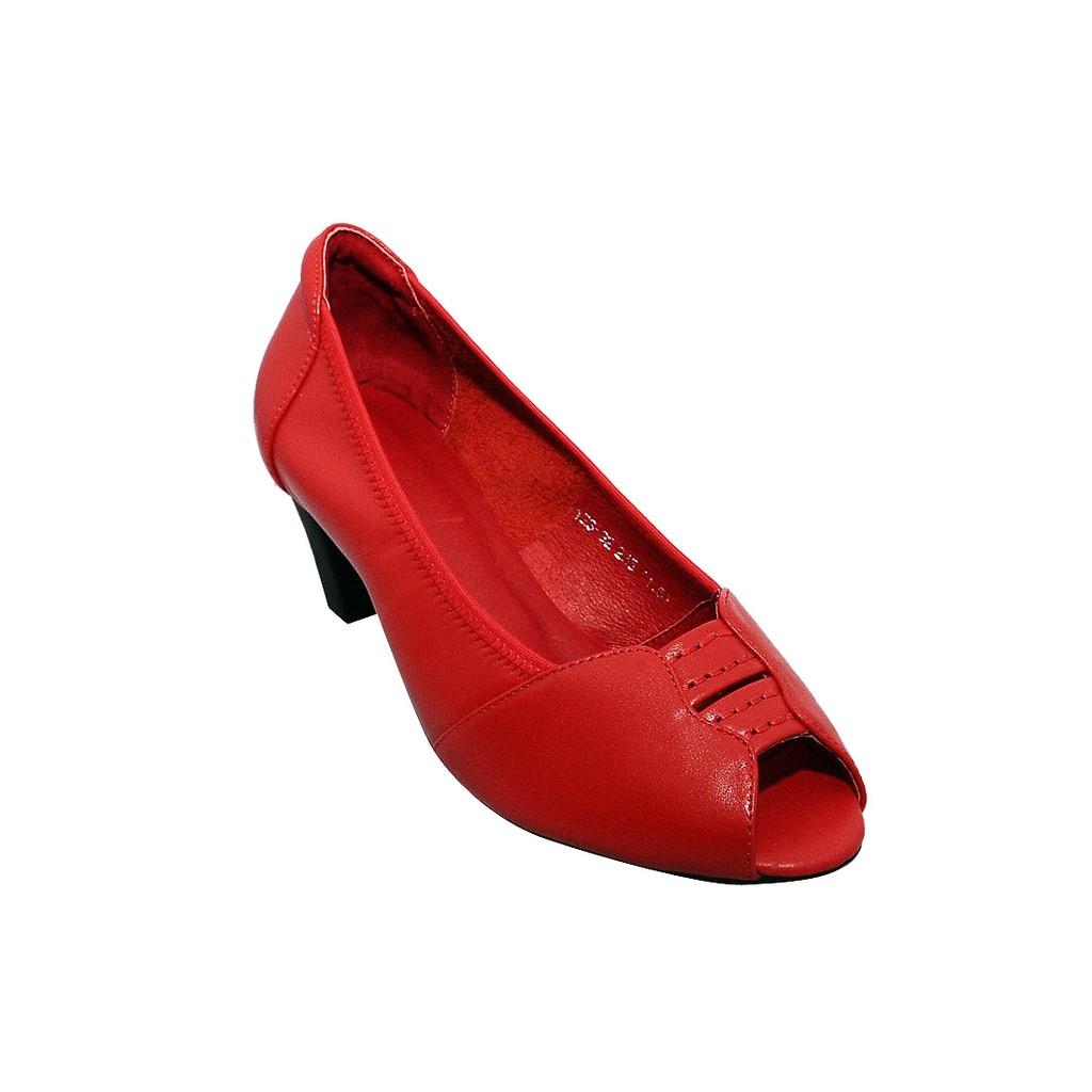 Giày nữ hở mũi cao gót 5cm da bò thật cao cấp màu đỏ ESW115