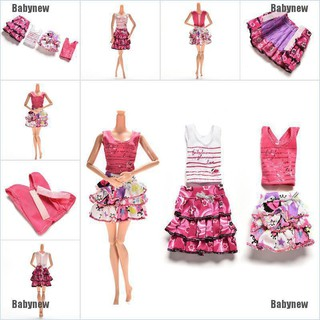 Babynew 2 Pcs/set Fashion Dress for Barbies with T-shirt Color Random Kids Doll Clothes
