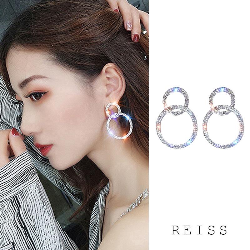 Bông tai dài đính kim cương giả phong cách Hàn Quốc đơn giản
